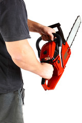Man with gasoline chain saw in hand.