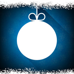 Christmas paper ball on blue background.