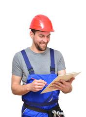 Bauarbeiter mit Klemmbrett - isoliert // workmen
