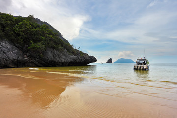 Speedboat dock on the sandy beach