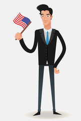 businessman with a USA flag