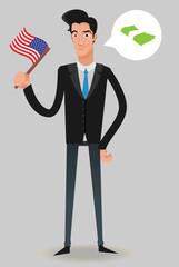 businessman with a USA flag thinking in money