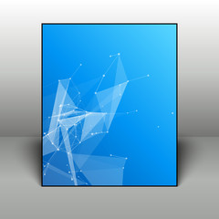 Abstract blue geometric background in black frame on 3D backdrop