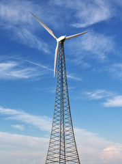 wind power generator on blue sky