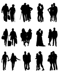 Silhouettes of couples, vector