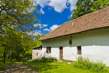 Old stylish cottage house in Slovakian countryside