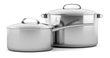 two cooking pans isolated on white background