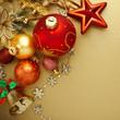 Christmas decoration on gold background