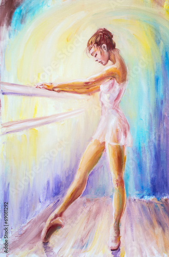 Plakát, Obraz Beautiful young ballerina. Oil painting.