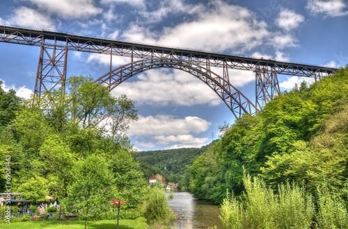 canvas print picture Sommer an der Müngstener Brücke