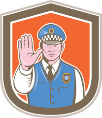 Traffic Policeman Hand Stop Sign Shield Cartoon