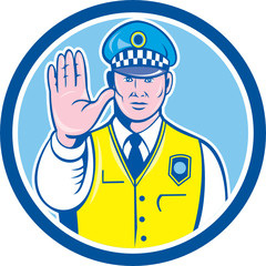 Traffic Policeman Hand Stop Sign Circle Cartoon