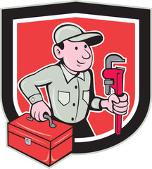 Plumber Toolbox Monkey Wrench Shield Cartoon