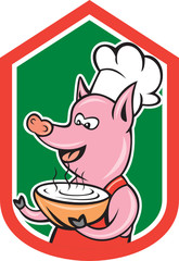 Pig Chef Cook Holding Bowl Shield Cartoon
