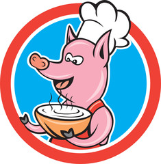 Pig Chef Cook Holding Bowl Circle Cartoon