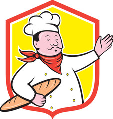 Chef Cook Holding Baguette Shield Cartoon