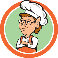 Chef Cook Female Arms Folded Circle Cartoon