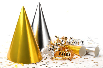 Party hats and paper streamer