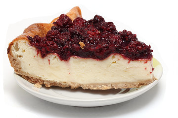 delicious cheesecake with blackberries