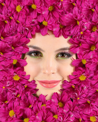 Woman beauty face with beautiful flowers frame, close-up