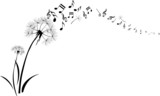 dandelions with note music flying on white background