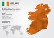 Ireland world map with a pixel diamond texture.