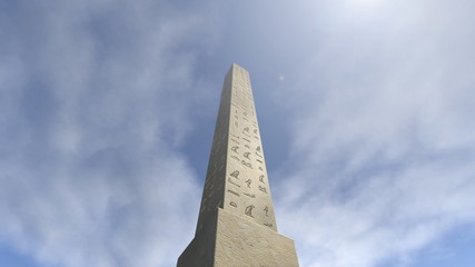 An animation of an obelisk with hieroglyphs