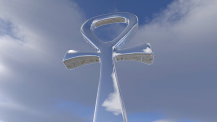 Egyptian ankh rotating in the sky