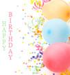 Obrazy na płótnie, fototapety, zdjęcia, fotoobrazy drukowane : Birthday arrangement. Balloons and confetti isolated on white.