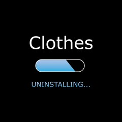 Uninstalling Illustration with Black Background and White Text -