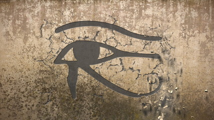 Eye of horus falls out of an old wall