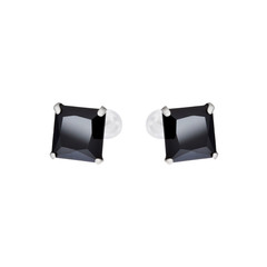 Black earrings isolated on white