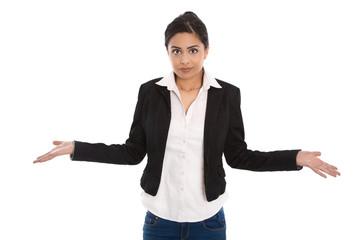 Konzept Entscheidung: Frau isoliert ist ratlos und unsicher