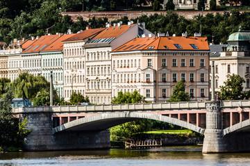 View on Prague Bridges at sunny day