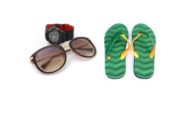 Men Watch with sunglasses and flip-flops