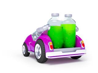 purple soda car back
