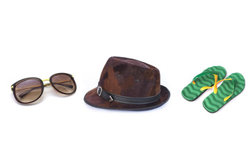 Sun hat with sunglasses and flip-flops