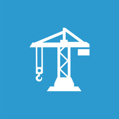 building crane icon, white on the blue background .