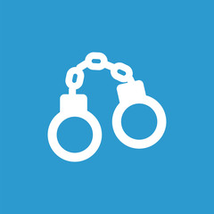 handcuffs icon, white on the blue background .