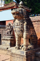 Statue image Lion guarding at Bhaktapur Durbar Square