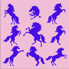 Silhouettes of animals (vector horses clipart )6