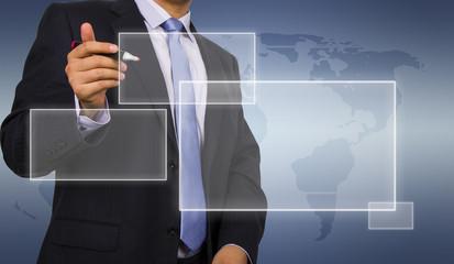 Business man touching virtual display