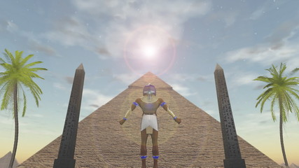 Animation of the egyptian god Horus standing before a pyramid