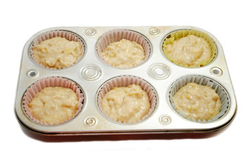 Raw Banana Muffins Ready to be Baked