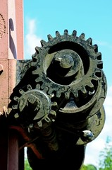 Winding gears on an old goods yard crane, Highley.
