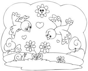 Coloring romantic illustration for little children.