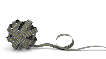 Tangled road skein isolated on white background