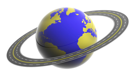 Earth circled by highway isolated on white