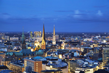 Aerial view on Hamburg from church of Saint Michael