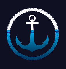 The Icon of anchor in the sea waves